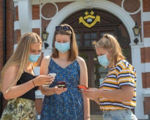 Students receive their 'A'-Level results today throughout the UK. Most received their results On-line or via their mobile phone despite not sitting the exams due to the Corona Virus Pandemic. Students at Caterham School also visited the school for further